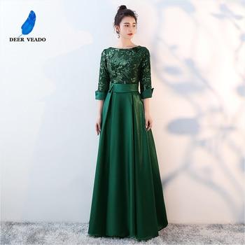 DEERVEADO Elegant A Line Sequins Satin Evening Dresses Long Formal Dress Woman Occasion Party Dresses Evening Gown D254