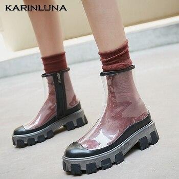 Karinluna Brand New Trendy Luxury Design Genuine Leather PVC Summer BOOT Woman Shoes Sandals