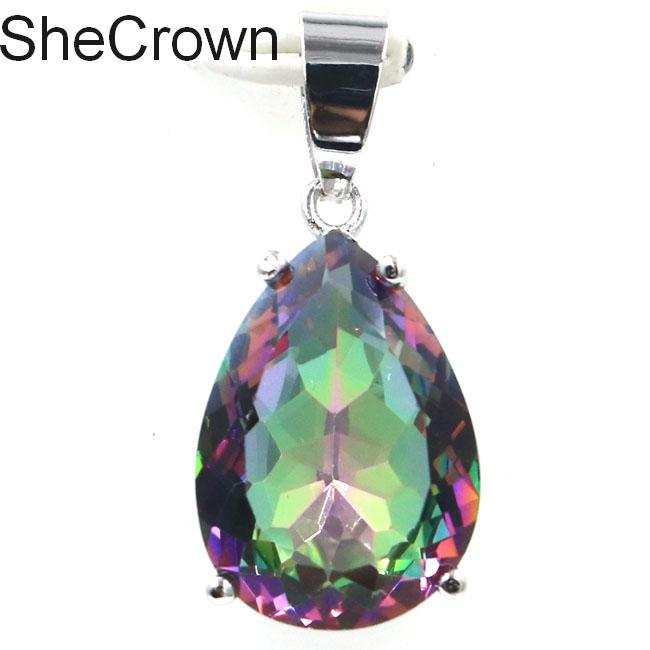 Dazzling Drop Shape Created Fire Rainbow Mystic Topaz Ladies Party Silver Pendant 27x13mm
