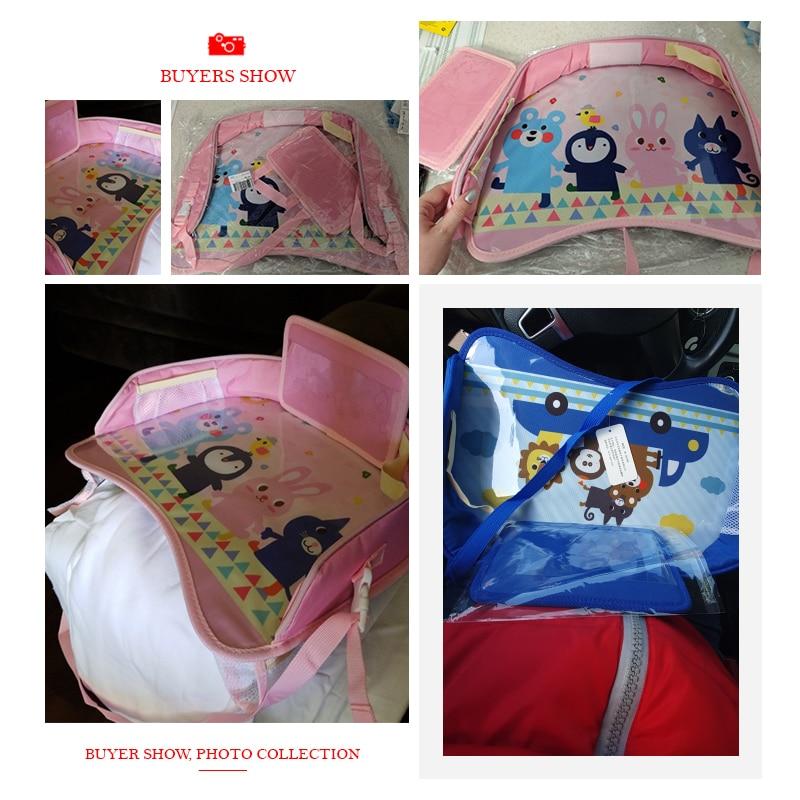 Auto Child Seat Storage Mat Oxford Kid Adjustable Food Milk Drink Organizer Stowing Tidying Phone Holder Interior Accessories 5