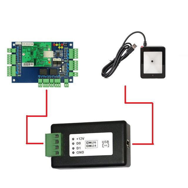 USB-WG Wiegand 26 converter Wiegand 34 converter connect with barcode scanner wiegand access controller USB HID-USB QR code 2