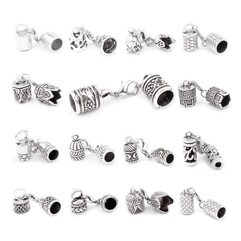 5 sets Zinc Alloy Clasp Lobster Clasps Hook End Caps Connectors For 5/6/7/8/10mm Leather Cord Bracelet Necklace Jewelry Making(China)