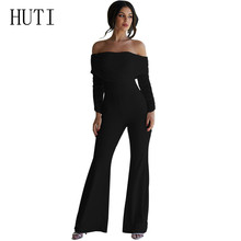 HUTI Long Rompers Womens Jumpsuits Autumn Party Off Shoulder Embellished Loose Club Playsuits Femme Elegant Fashion Mono Mujer