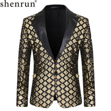 Shenrun Men Blazers Sequins Jacket Fashion Autumn Winter Groom Tuxedo Suit Jackets Costumes Singer Host Black Gold Silver Blue