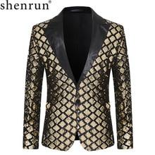 Shenrun Men Blazers Sequins Jacket Fashion Autumn Winter Groom Tuxedo Suit Jackets Costumes Singer Host Black Gold Silver Blue