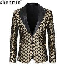 Shenrun الرجال الحلل الترتر سترة الأزياء الخريف الشتاء العريس سهرة جاكيتات البدلة ازياء المغني المضيف الذهب الأسود الفضة الأزرق