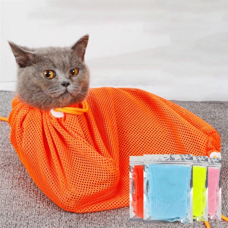 Сетчатая Сумка для ухода за кошкой, сумка для ванны, ограничитель, для кошек, собак, для укуса, регулируемые моющие сумки для домашних животн... - 4