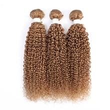 Bundles Hair-Extensions Human-Hair Weave Blonde Curly -30 3pcs Kinky Remy 100%European