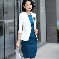 Women's suit set Lady's suit 2 piece suit Blazer with blue dress Women's five point sleeves Slim professional wear