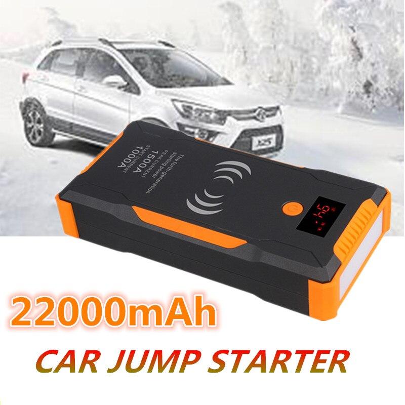 Car Jump Starter Booster 12V 22000mAh 1500A Power Bank Quick Wireless Charing Emergency Car Jump Starter Battery Charger Power