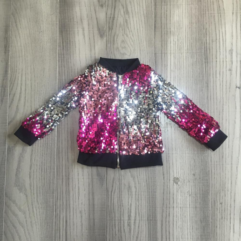 Girlymax Fall/winter outfits baby girls violet hot pink tie dyed sequins zipper coat cotton clothes children top cotton boutique 2