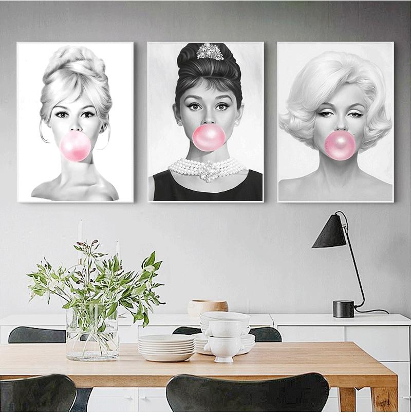 Audrey Hepburn Bubble Gum Wall Art Canvas Fashion Posters Brigitte Bardot & Marilyn Monroe Prints Painting Pictures Home Decor