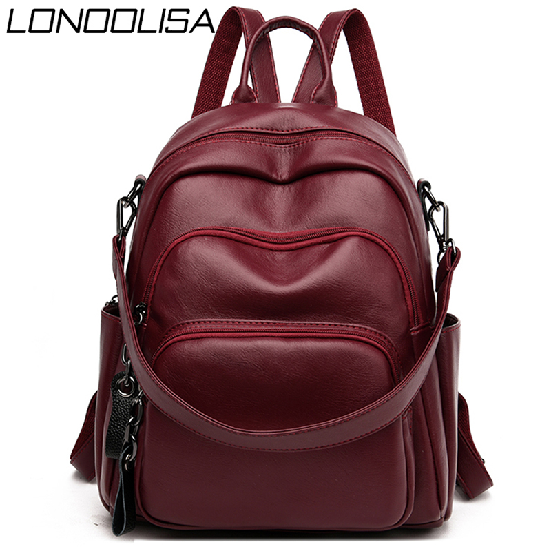 Women Leather Backpacks Large Capacity Female Shoulder Bag Ladies Sac A Dos Casual School Travel Bags For Teenage Girls Mochilas