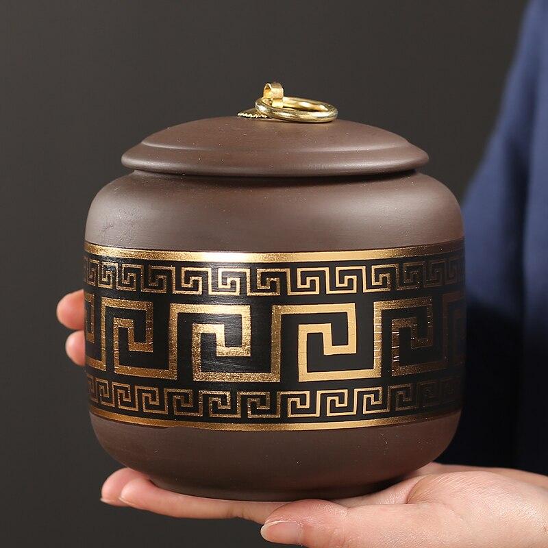 Purple Clay Tea Caddy Ceramic Sealed Pot Size Pu'er Tea Storage Tank Household Black Tea Green Tea General Empty Can
