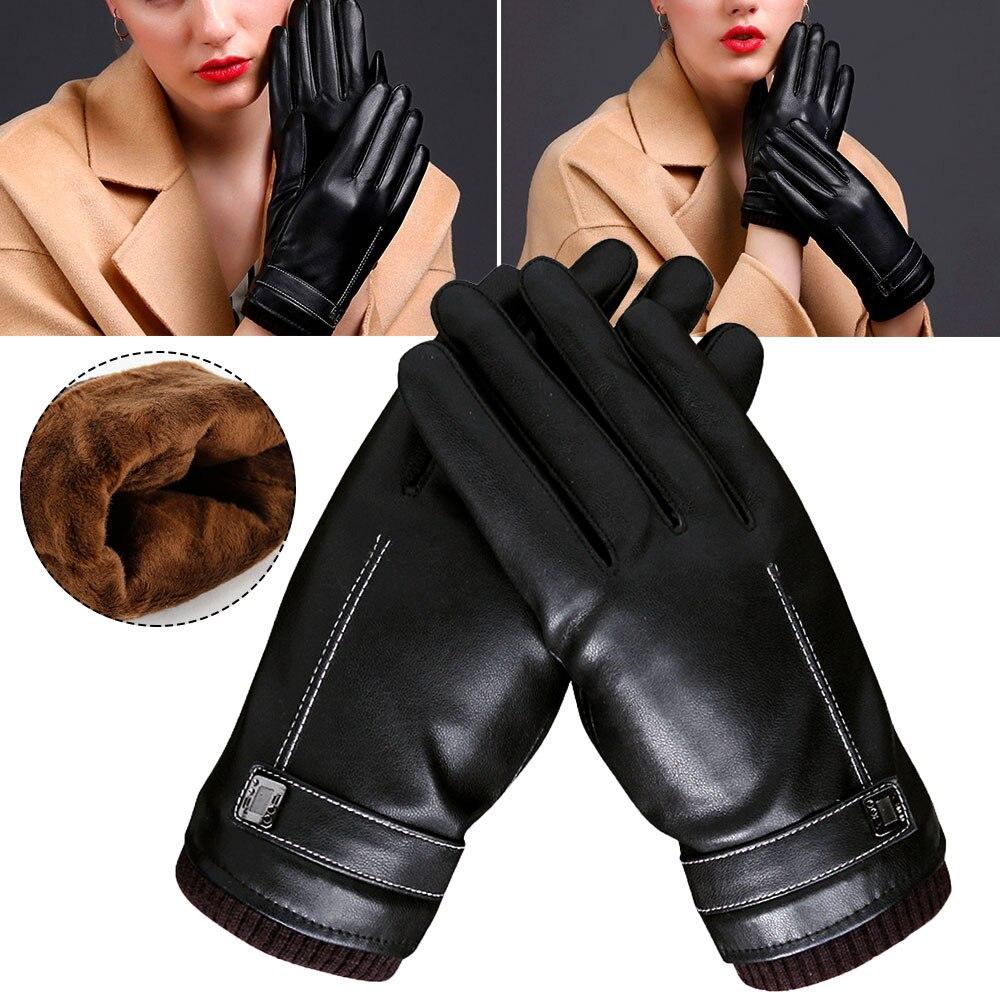 Men Sheepskin PU Leather Gloves Winter Warm Touch Screen Gloves Windproof Full Finger Black Gloves Winter Female Warm Gloves