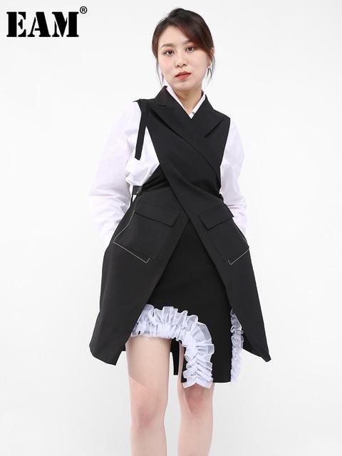 [EAM] Women Loose Fit Black Button Cross Irregular Long Vest New Lapel Sleeveless Fashion Tide Spring Summer 2021 1DD929701 1