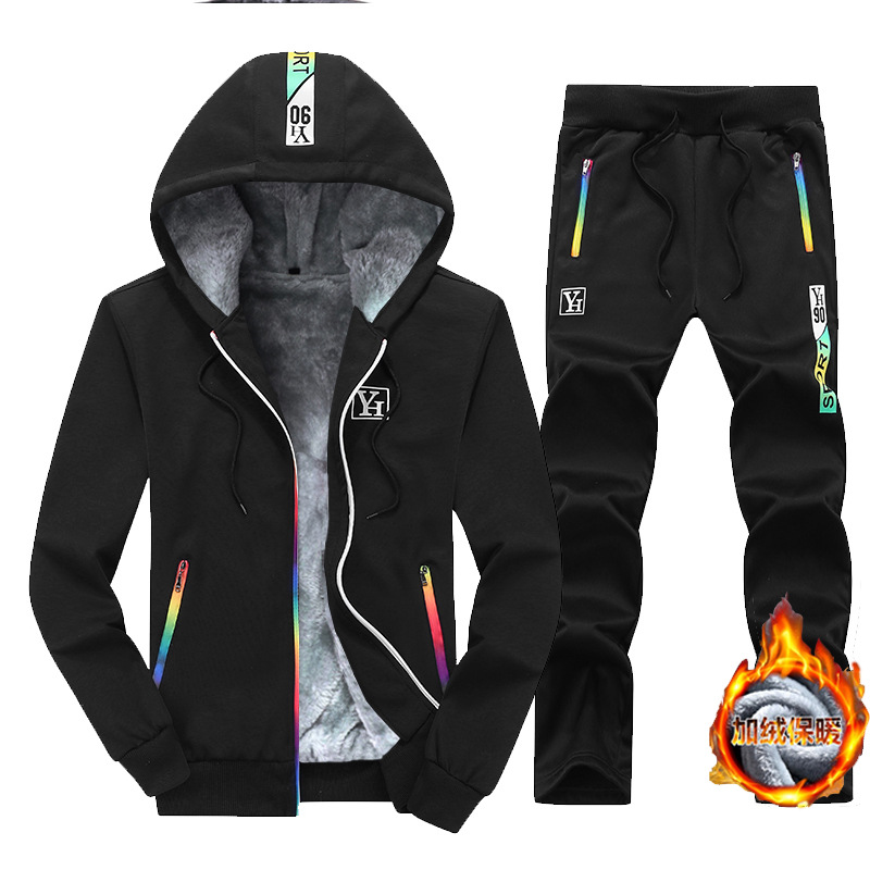 2019 Winter Warm Hoodie Suit Men's Brushed And Thick Hooded Two-Piece Set Youth Hooded Cardigan Sports Clothing Fashion