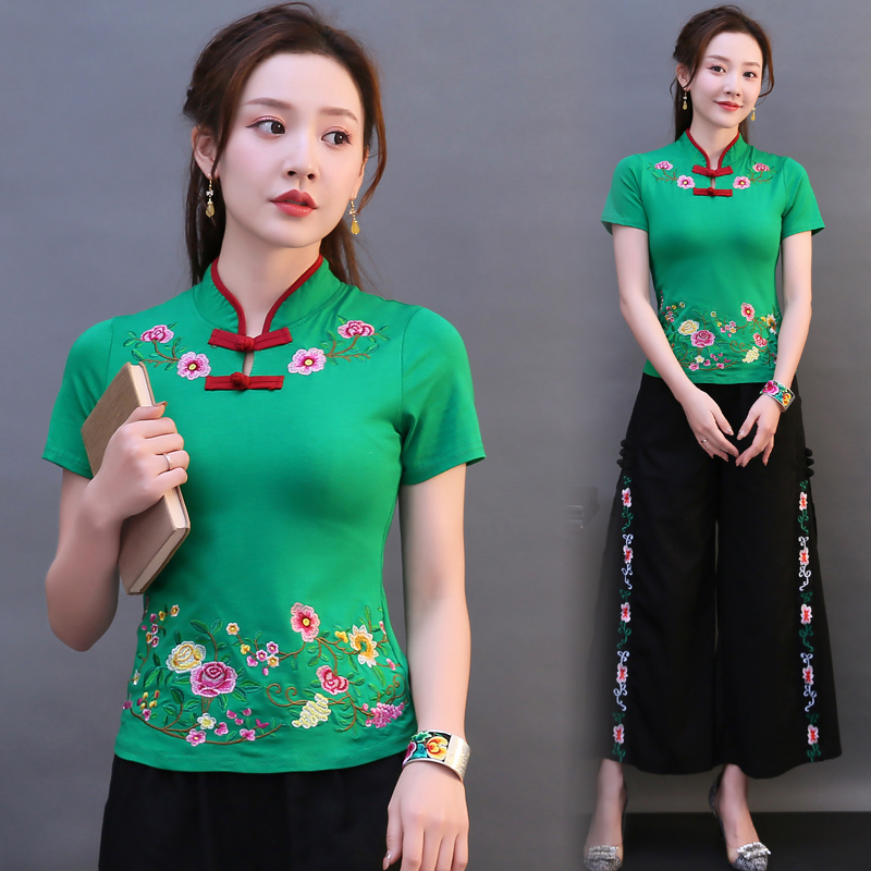 Indie Folk Stand Collar Buckle Embroidery Women Tops Traditional Folk-Custom Embroidery Women Shirt Elegant Exotic Woman Clothes