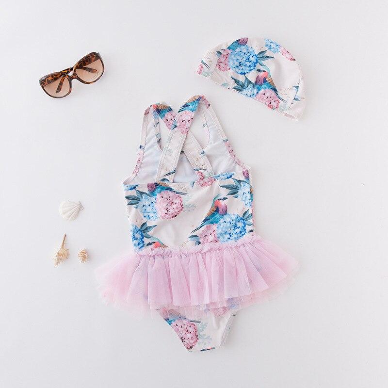 KID'S Swimwear GIRL'S One-piece Swimming Suit Flower Bird Mesh Dress Triangle Swimwear Vest Exposed Back With Cap 2 Pieces