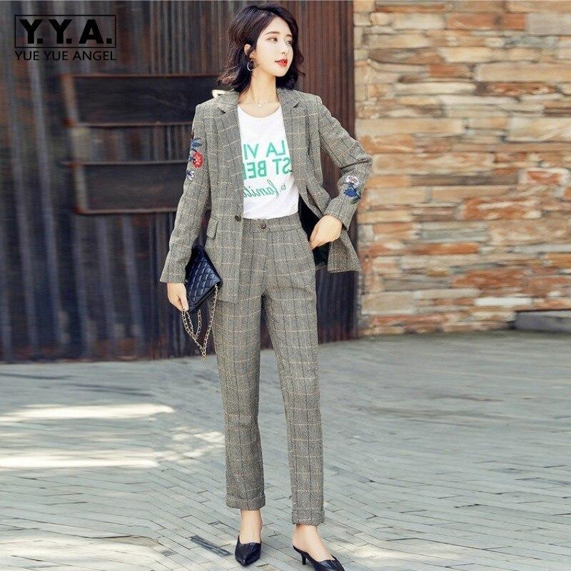 Vintage Embroidery Floral Slim Blazer Suits Women Autumn Elegant Plaid Pencil Pants Formal Jacket Office Two Pieces Set Women