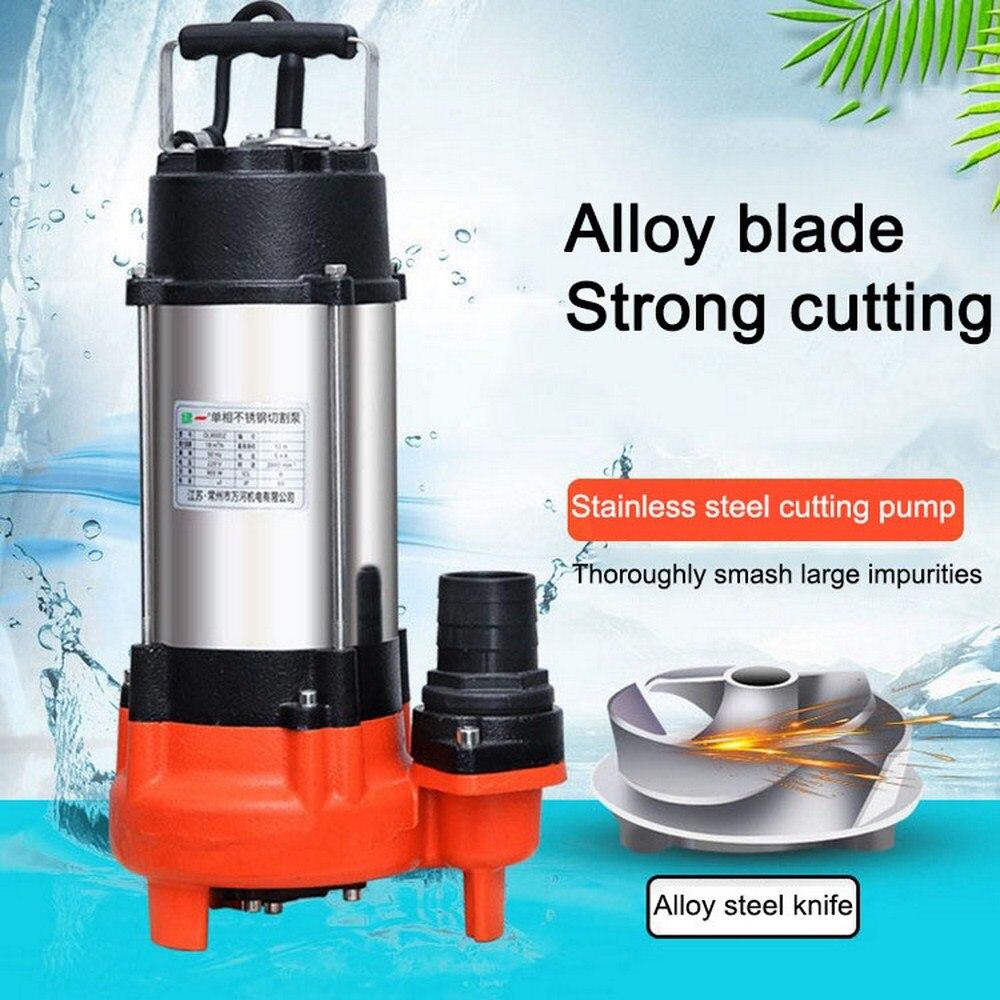400W pompe à eau claire impureté pompe de coupe Submersible pompe à eaux usées en acier inoxydable câble résistant interrupteur à flotteur arrière