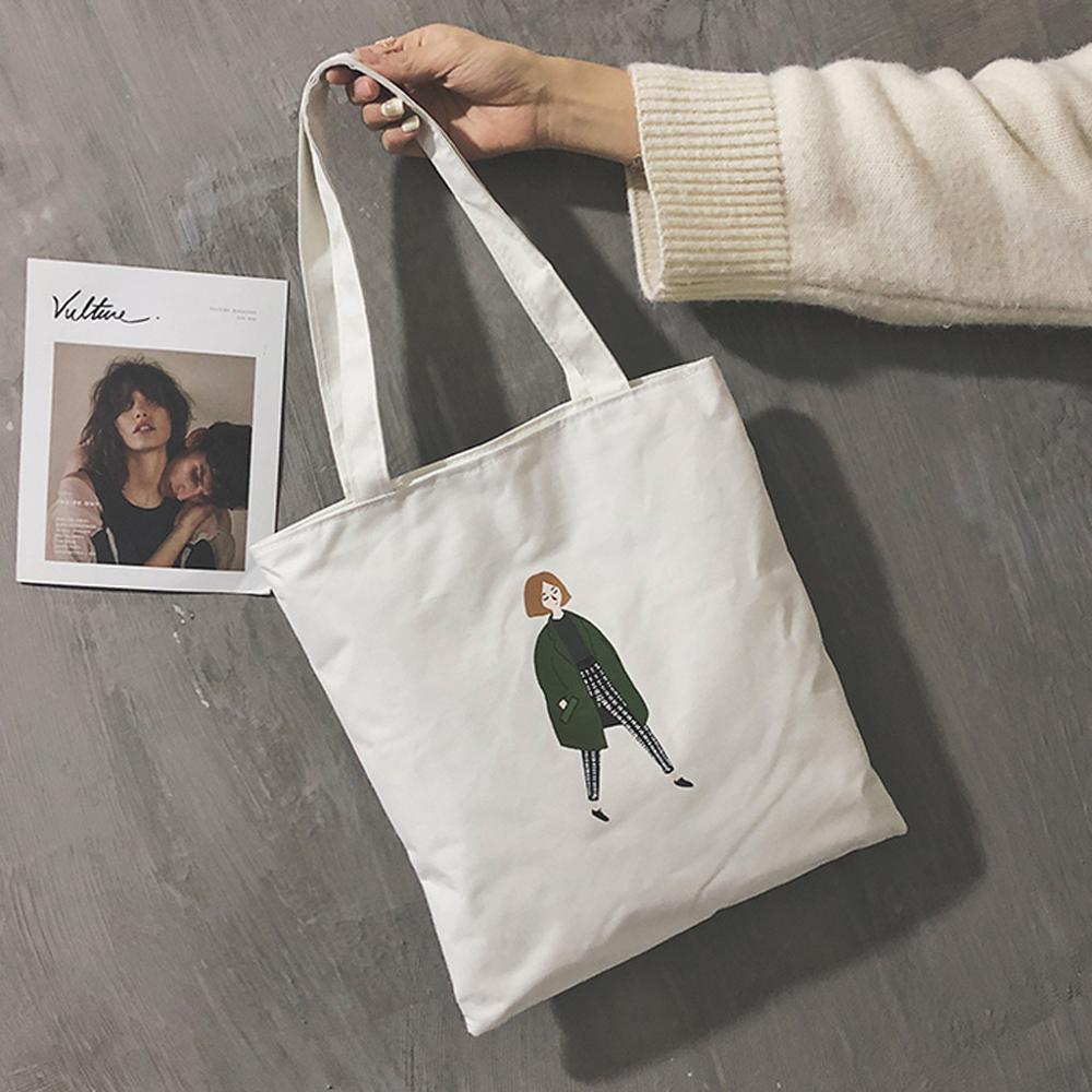 Women Shopping Bag Ladies One Shoulder Bag Totes Eco Shopping Bag Daily Use Foldable Canvas Print Bag Canvas Women Female