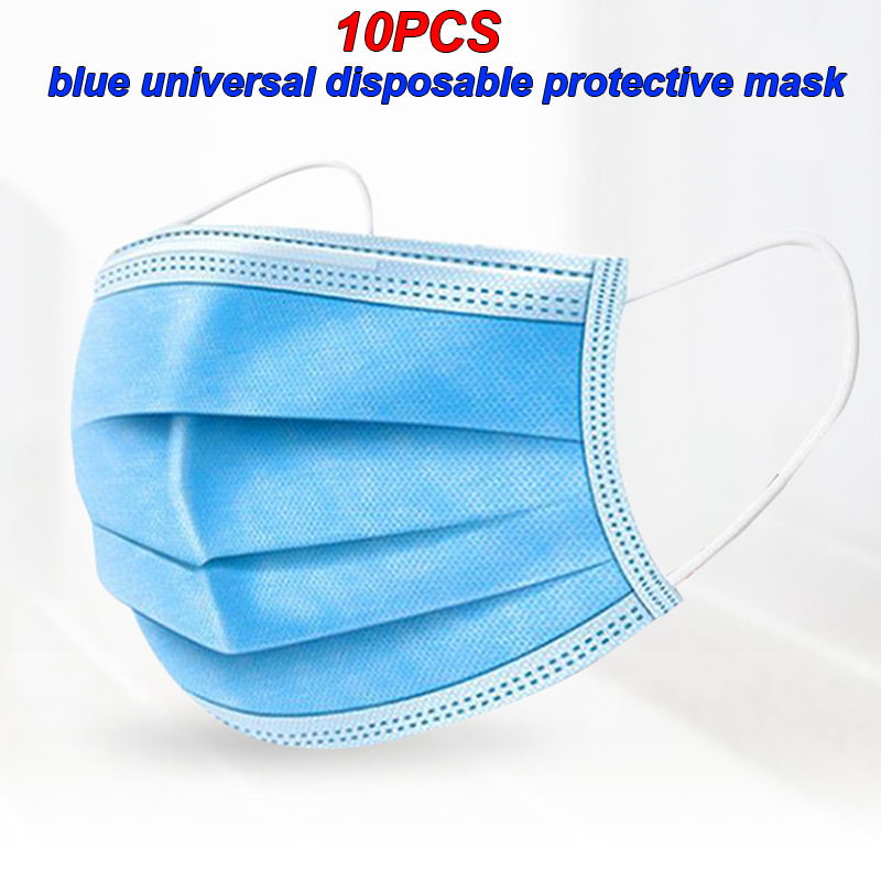 10 Pieces Of 3-layer Non-woven Masks Dustproof Disposable Masks Antivirus Bad Smell Blue Outdoor Dust Mask
