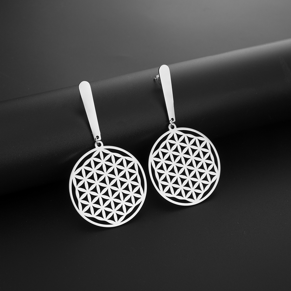 My Shape Flower Of Life Drop Earrings For Women Hollow Stainless Steel Dangle Earrings Gold Color Round Pendant Jewelry Gift