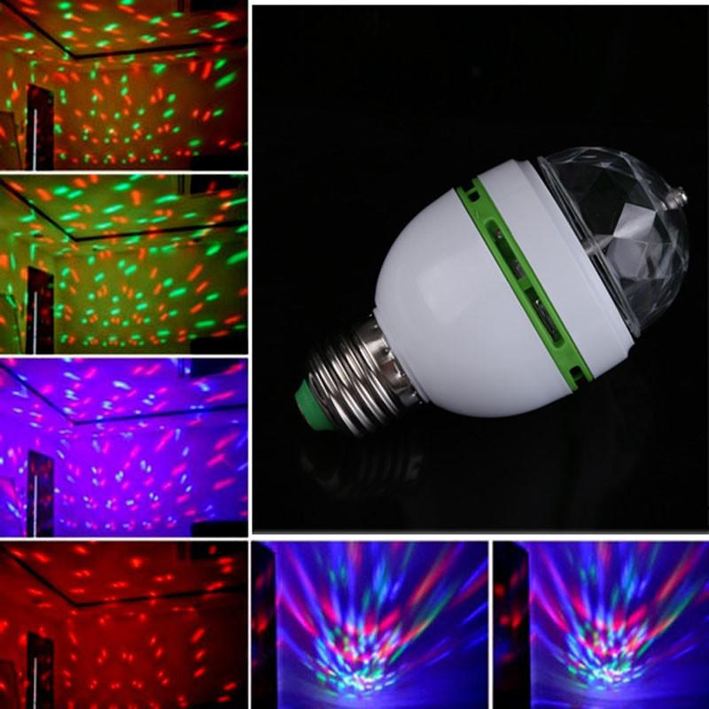 E27 3W 100-240V Colorful Auto Rotating RGB LED Bulb Stage Light Party Lamp Disco For KTV Party Festival Decoration