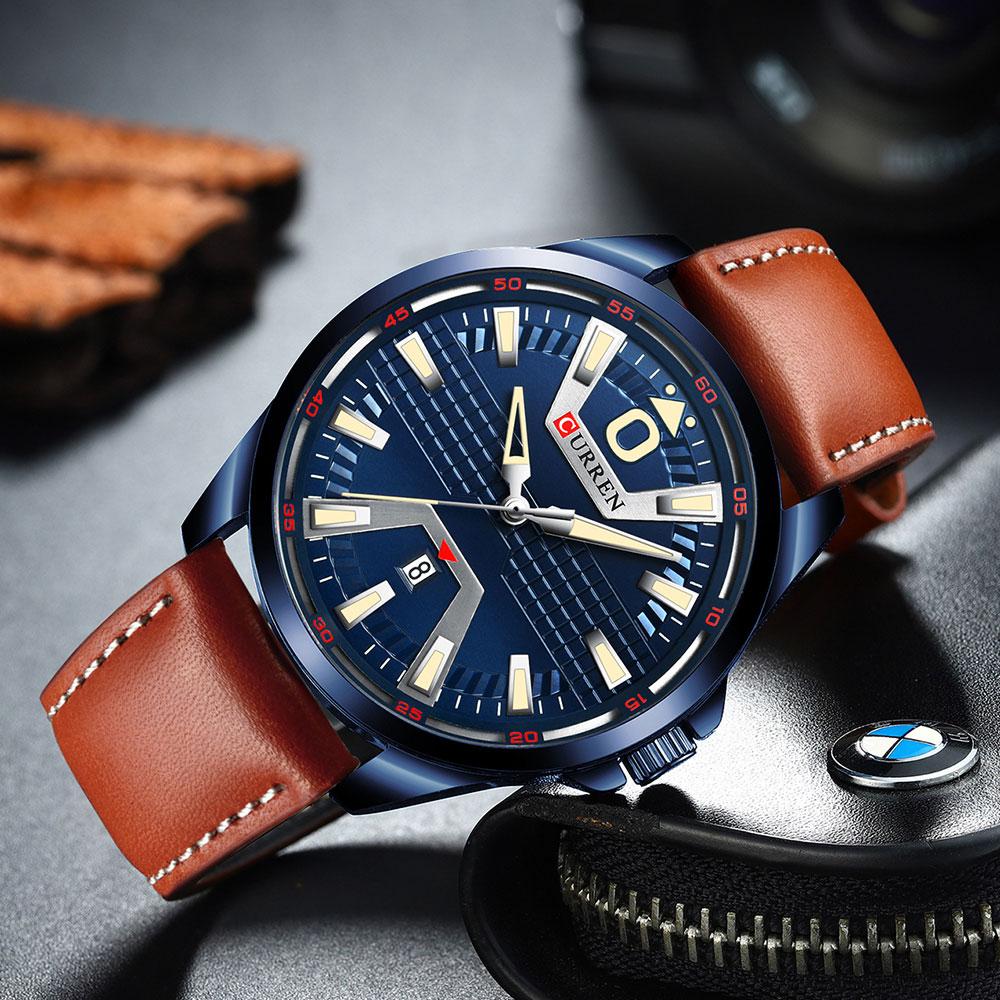 Fashion Luxury Man Quartz Watch CURREN Watches Leather Clock Auto Date Wristwatch Male Brand Watch Reloj Hombres