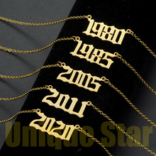 Vnistar 100% Stainless Steel Anniversary Necklace for Girl 1980-2020 Birth Year Numbers Jewelry Fashion Necklaces Dropshipping