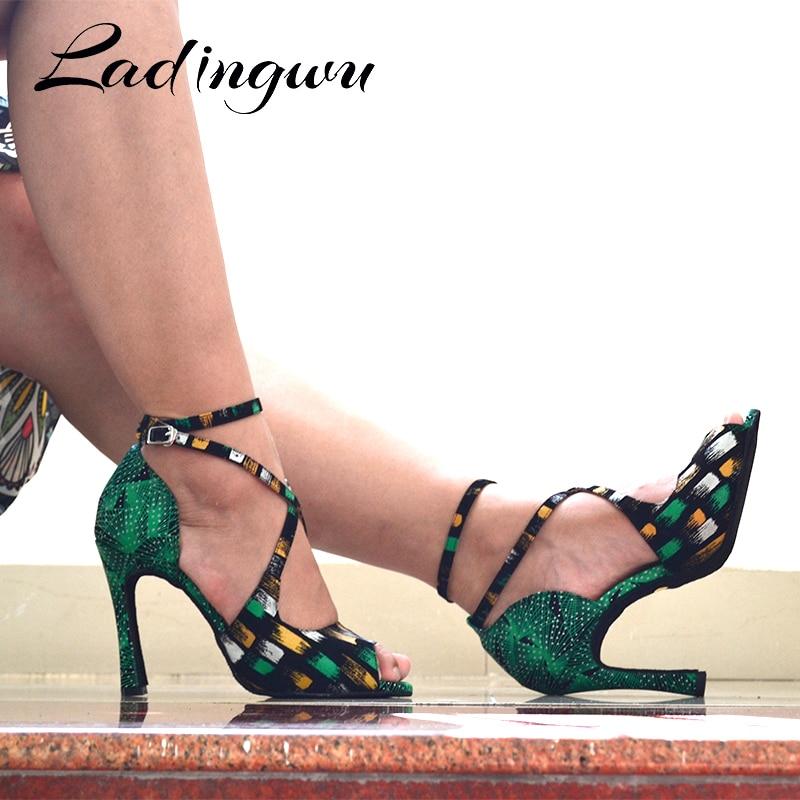 Ladingwu marques chaussures de danse latine matériel spécial Salsa chaussures de danse Performance chaussures de danse Profession salle de bal chaussures dacné