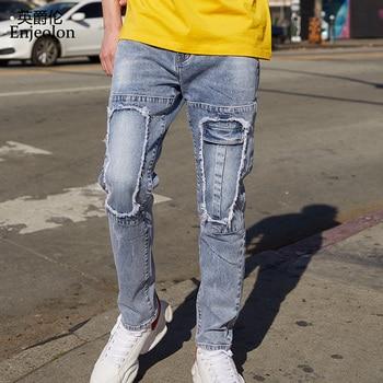 Enjeolon Brand Men Denim Jeans Long Full Trousers Hole Jeans Pants Man Cotton Blue Solid Males Causal Jeans Male NZ075