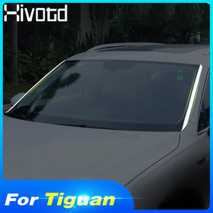 Hivotd For VW Tiguan MK2/L 2019 2018 Car Styling Stainless Front Window Side Edge Strip Protector Trims Chrome Cover Accessories