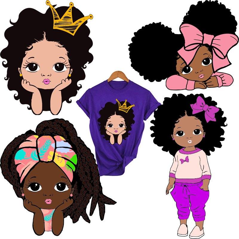 Patchs de fer à repasser pour petites filles Afro, pour vêtements de niveau A, transferts thermiques lavables, autocollant sur T-shirt