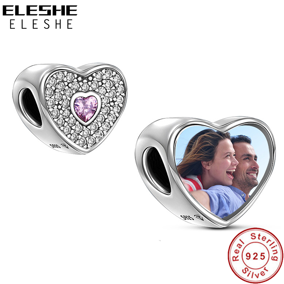 ELESHE Personalized Custom Photo 925 Sterling Silver Crystal Heart Charms Beads Fit Pandora Bracelet Bangle Original DIY Jewelry(China)