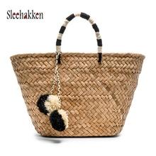 Woman bag Vacation Weaving handbag beach Straw+Polyester Fashion Pompom straw Quality craft 2019 Autumn new style