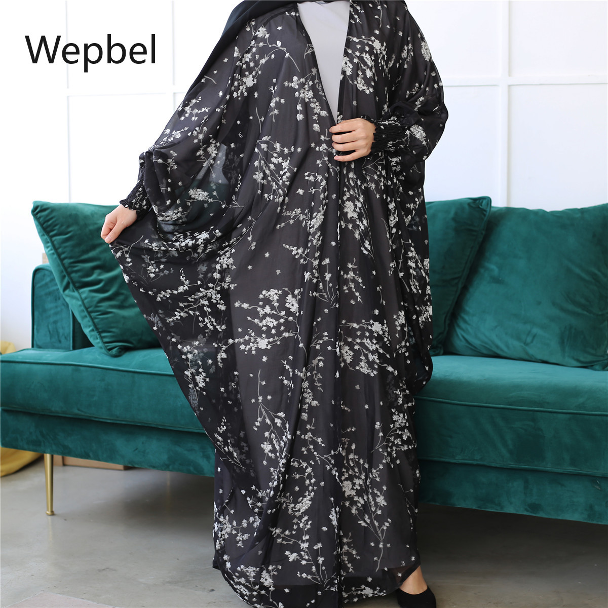 WEPBEL Summer Chiffon Muslim Islamic Robe Plus Size Batwing Sleeve Arab Duabi Cardigan Muslim Dress Fashion Casual Kimono