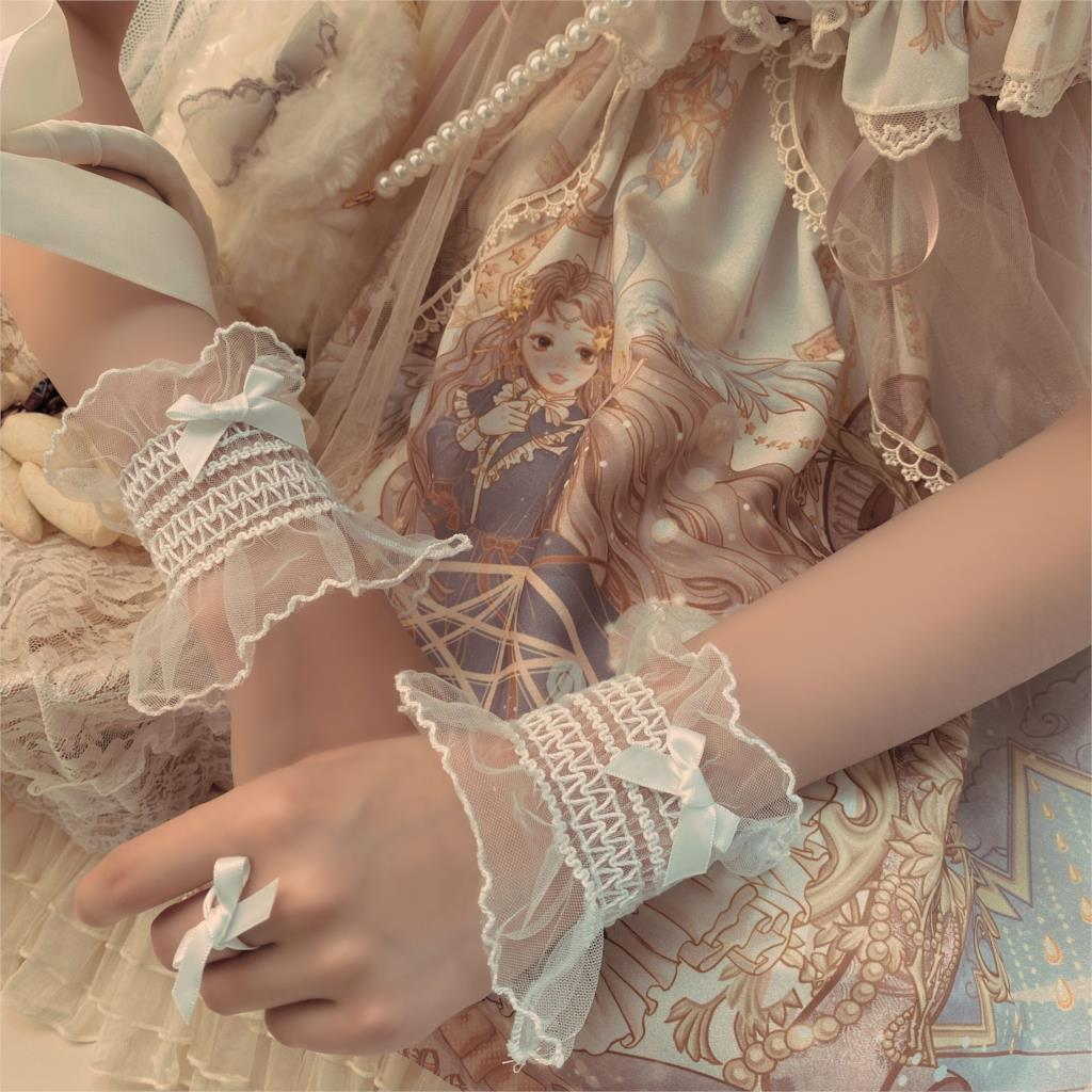 Cute Girly Hand Sleeve Small Bow Lace Sleeves Lace Cuff