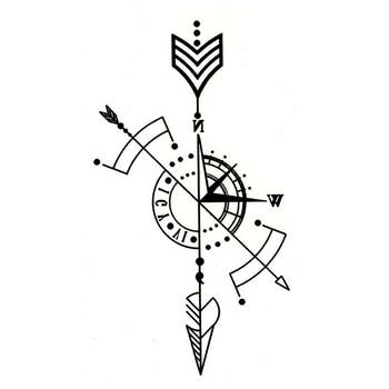Black Temporary Tattoo Geometric Compass Arrow Waterproof Creative Fake Body Art Tattoo Sticker for Arms/Back/Sternum/Legs