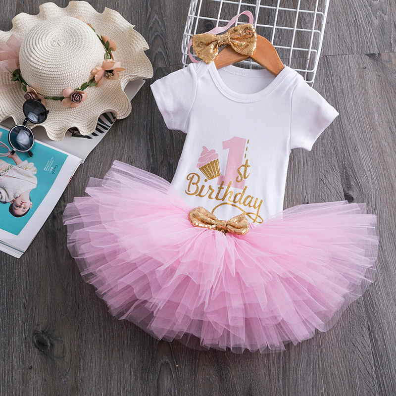 Baby Girl 1 Year Birthday Tutu Dress Toddler Girls 1st Birthday Party Christening Outfits Princess Costumes For 12 Months Girls Dress Christening Baby Girl 1 Yearchristening Outfit Aliexpress