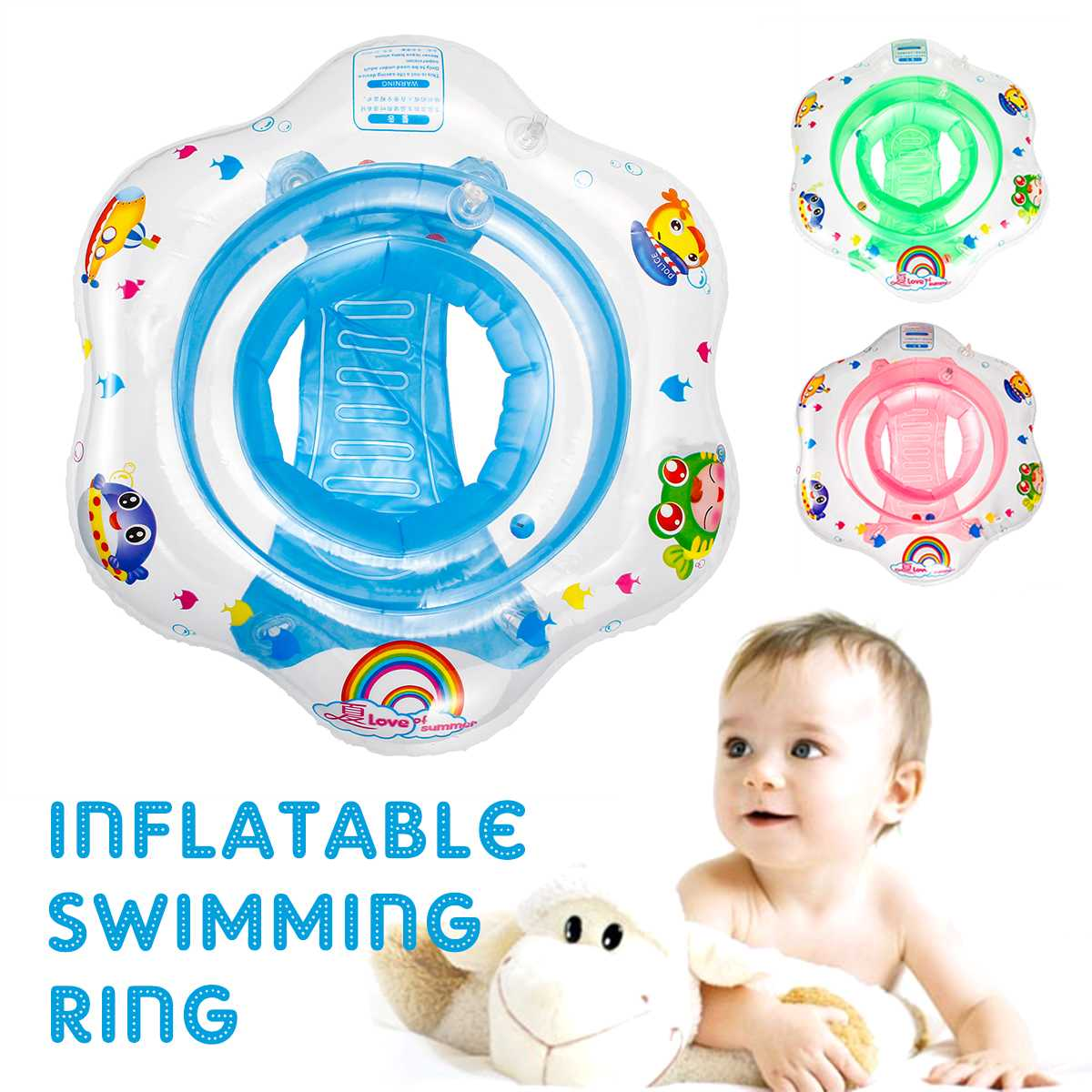 Kids Baby Swimming Ring Pool Accessories Durable Inflatable Swimming Pool Ring Leak-Proof Train Safety Water Toy Children Float