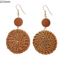 Korea Handmade Wooden Straw Weaved Rattan Knit Vine Braid Drop Earrings New Fashion Geometric Long Earring Jewelry Gifts(China)