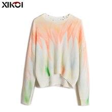 Трикотажный Джемпер xikoi осенне зимние топы пуловеры с принтом