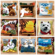 Beautiful Scenery Button Package Carpet Embroidery Pillow Do It Yourself Foamiran For Needlework Latch Hook Cartoon Animals H