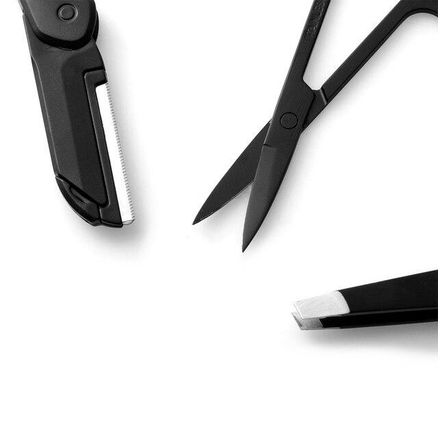 3pcs Black Eyebrow Tweezer Flat Tip Tweezers Curved Scissors For Nose Eyelash Eyebrow Hair Removal Stainless Steel Makeup Set 4