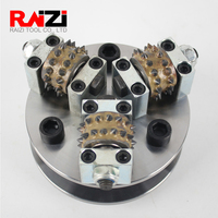Raizi 5 inch/125 mm bush hammer Disc For granite marble Stone 3 Rollers Diamond Grinding Wheel On Angle Grinder litchi surface