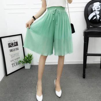 Chiffon Wide Leg Short Femme Trousers Women Loose Lace Up High Waist Knee Length Midi Pleated Summer Shorts Women Capris C7258 1