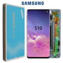 Oryginalny 6.1 AMOLED do SAMSUNG Galaxy S10 G973F/DS G973U G973 SM G973 wyświetlacz dotykowy zamiana digitizera ekranu + Service pack