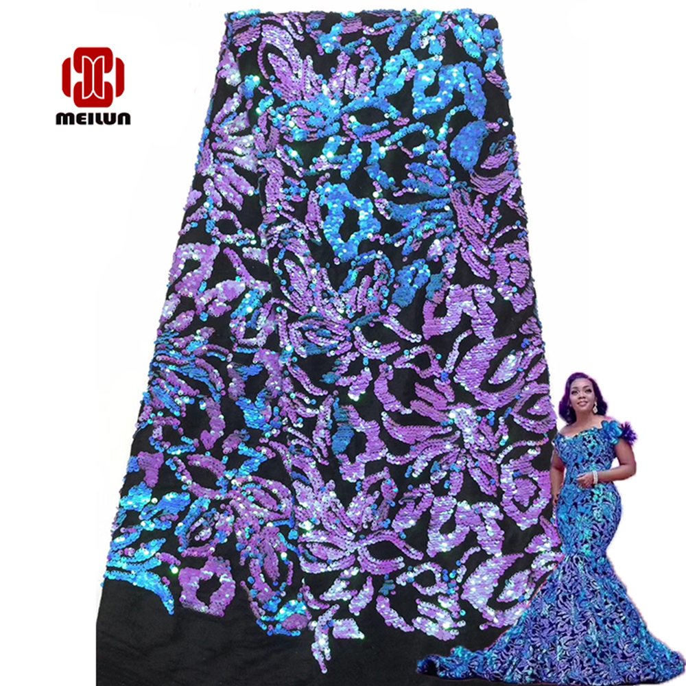 Hot 2020 New Design Velvet With Sequins African French Velvet Lace Fabric High Quality Nigerian Velvet Lace Fabric For Garment
